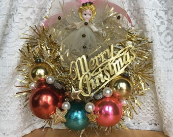 Miniature Gold Tinsel Wreath with Vintage Ornaments and Angel