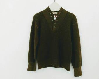 1953 wool army sweater, olive small-medium