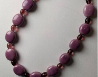 Purple Porcelain Hand Beaded Necklace