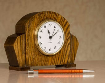 Upcycled vintage wooden desk clock.