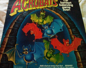 Acrobats Game by Pressman, Vintage 1989, The battiest balancing game ever!