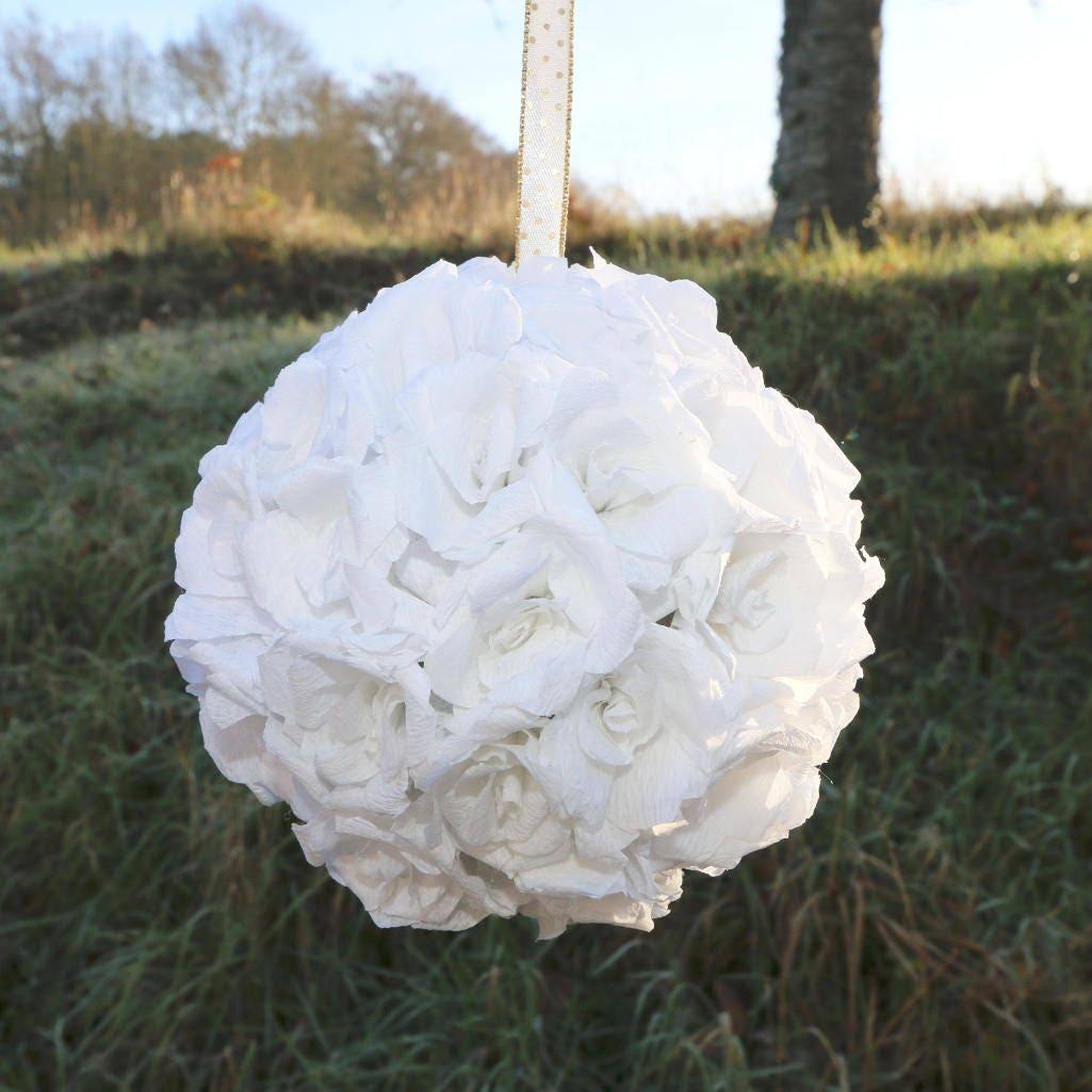 White flower ball white kissing ball paper flowers wedding flower white flower ball white kissing ball paper flowers wedding flower ball flower mightylinksfo
