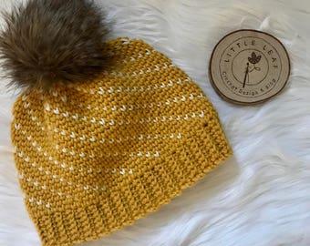 Mustard Cream Fair Isle crochet beanie crochet beanie faux fur pom
