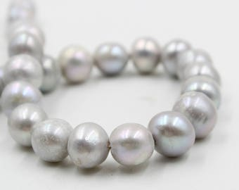 12 - 13 mm gray round freshwater pearls, gray round pearl,15'' full strand, round pearl strands, pearl wholesale