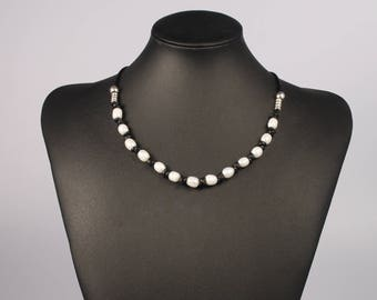 Boho Pearl Necklace,Leather Pearl Necklace,Leather Necklace,Pearl Leather Necklace,White Pearl Necklace,Freshwater Pearl Jewelry