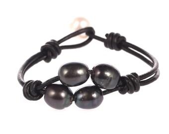 leather pearl bracelet pearl leather bracelet freshwater pearl jewelry wedding gift black pearl bracelet bridesmaid bracelet