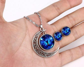 Blue butterfly moon glass cabochon jewelry set, 925 Sterling silver plated womens pendant necklace, Small cute stud cabochon earrings D21
