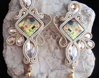 soutache earrings beige Klimt jewels, Soutache Jewerly, fashion, Soutache Jewels, accessories, cabochon, crystals, handmade from Italy