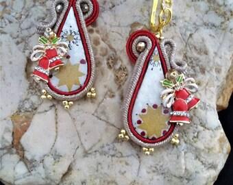 soutache earrings christmas Soutache Earrings, Handmade Earrings, Hand Embroidered, Soutache Jewelry, Handmade from Italy
