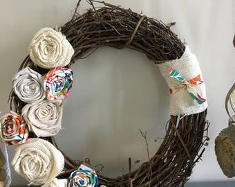 grapevine wreath, front door wreath, rustic wreath, fall wreath, burlap wreath