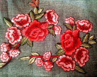 red flower collar applique Embroidered  sew on Patches  Applique h80