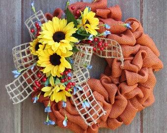 Small Wreath, Burlap Wreath, Accent Wreath, Fall Wreath, Summer Wreath, Sunflower Wreath, Garden Wreath, Rustic Wreath, Orange Burlap Wreath