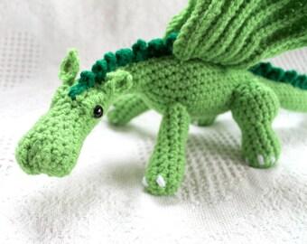 Amigurumi Dragon Plush, Lime Green Crocheted Dragon Plush