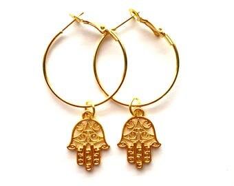 Gold Hamsa Hoops