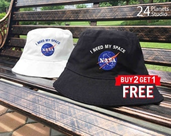 NASA I need my space Embroidered Bucket Hat by 24PlanetsStudio