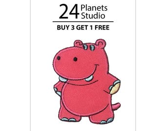 Pink Hippo Iron on Patch by 24PlanetsStudio