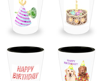 Set of 4 Hilariously Funny Shot Glasses With Birthday Humor! White Ceramic Shot Glasses Make An Awesome gift!