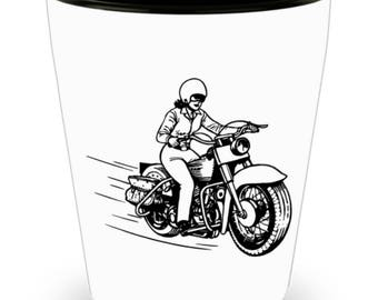 Shot Glass Motorcycle Woman! Cool Pen & Ink Drawing of Lady Biker Flying Down the Road on  White Ceramic Shot Glass Gift!
