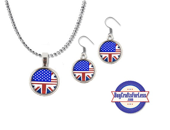 USA - UK Pendant and Earrings- Honoring Our Friendships - One Love - London - Manchester + Discounts & FREE Shipping**
