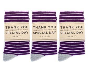 3 Pack Groomsmen Socks with Custom Label | Purple and Grey Striped Socks | Wedding Day Socks | Groomsmen Gifts | Groomsmen Proposal Idea