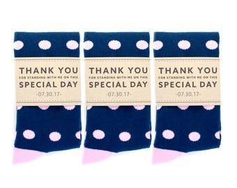 Groomsmen Navy and Pink Polka Dot Socks 3-Pack with Custom Labels/Wedding Day Socks/Groomsmen Gifts/Groomsmen Proposal Idea