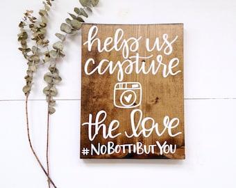 Help Us Capture The Love wood sign   wedding hashtag sign, wedding instagram sign, instagram hashtag sign, rustic wood sign, wood wedding si