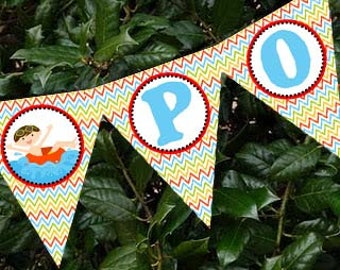 Summer Swim Pool Boy Banner Party Printable -  Party Designs Co
