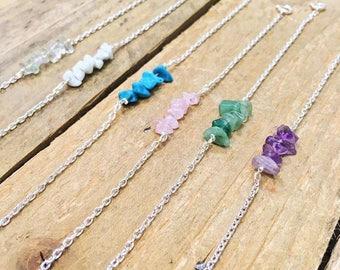 Semi-Precious Stone Bracelet, Silver Plated Chain, Amethyst, Rose Quartz, Aventurine, Howlite