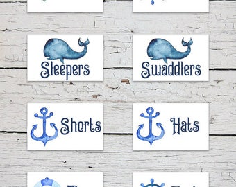 Printable Nursery Drawer Labels | Nautical Drawer Labels | Nautical Nursery Decor | Nursery Organizer | Baby Clothes Labels | Baby Boy