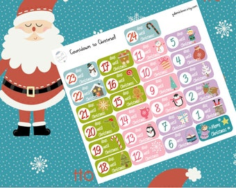 Countdown to Christmas planner stickers