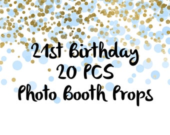 20 PCS 21st Birthday Photo Booth Props, Party Props, Photo Booth Props, Party Supplies, Party Decor, Party, Photo props, Birthday decor