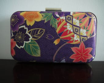 Oriental Japanese Print Purple Hard Case Clutch Bag Evening Prom Occasion Wedding Clamshell Minaudiere Party Gold Metallic Floral Bauble