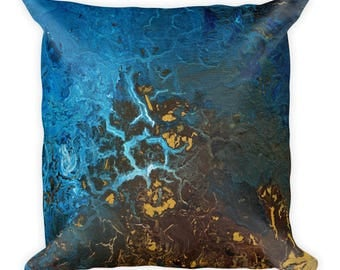 Earth 2 | Square Pillow | Browns and Blues | Abstract Painting