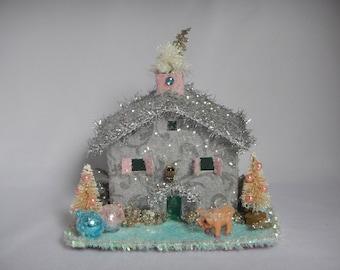 Putz Style Inspired Whimsical Winter Christmas Glitter Little Piggy House