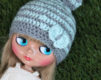 Cute striped Blythe hat with bunny ears and bow