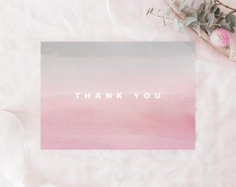 """PRINTABLE Thank You Card, Pink and Gray Thank You Card, Watercolor Thank You Card, 3.5""""x5"""" Folded Card, A1 Thank You Card, Modern, Simple"""