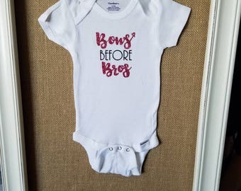 Bows Before Bros baby onesie- 3-6 months, Baby Girl Onesie, Funny Onesie, Pink Glitter Onesie, Baby Shower Gift