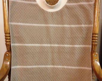 Adult Towel Bib - Blues & Browns - Checkered Terrycloth PULLOVER Bib - Acid Reflux - Special Needs - Fastener-Free Bib - Big Kid Bib