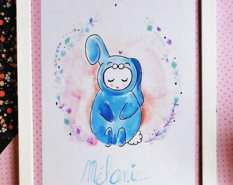 personalized toddler size A4 rabbit illustration