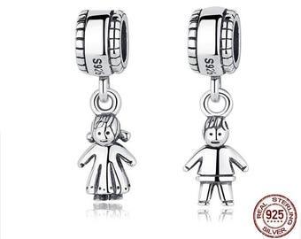 Choose between Little GIRL or Little BOY Charm, 100% Real 925 Sterling Silver, Fit Pandora, Famous European Bracelet, DIY Jewelry