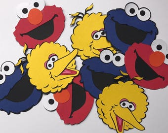 "3"" SESAME STREET DieCuts, Elmo Big Bird Cookie Monster, Sesame Street Decorations, Elmo Birthday Party Decor"