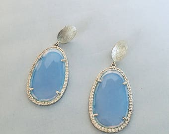Silver Crystal and chalcedony earrings