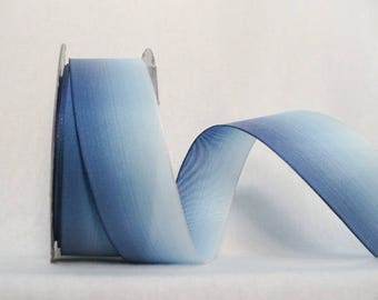 Ombre wired ribbon blue size 38mm wide, fifteen yards