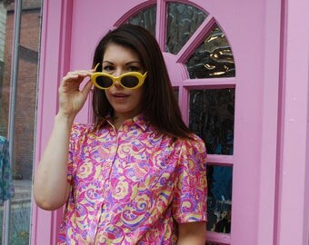 Vintage Psychedelic Print 1970s Shirt Size 10-12