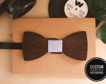 Wenge wood bow tie can be personalized with name engraved, men husband gift, custom bowtie