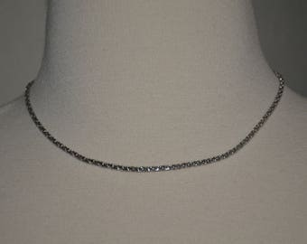 20% off Silver Tone Signed Swarovski Minimalist Chain Link Choker Necklace
