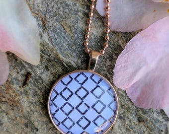 Rose Gold. Pendant. Round. Black diamond. Rose gold necklace. Gift for her
