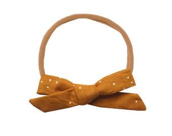 Schoolgirl Bow or Pigtail Set /// Mustard Dot