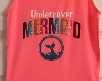 Undercover Mermaid rainbow hologram and glitter Vest top