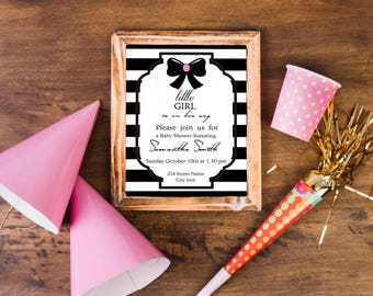 Digital Baby-Girl Shower Invitation / Black & White Invitation / Baby Girl Shower / Baby Shower Invite / Baby Shower Printable